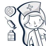 Ειδική νοσοκόμα με τα στοιχεία νοσοκομείων ελεύθερη απεικόνιση δικαιώματος