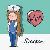 Ειδική νοσοκόμα με το σήμα κτύπου της καρδιάς διανυσματική απεικόνιση