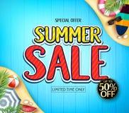 Ειδική προσφοράς αφίσα αγγελιών Summer Sale Limited χρόνου μόνο για θερινή περίοδο με την ιστιοσανίδα, καρπούζι, ομπρέλα, σφαίρα  Στοκ Εικόνες