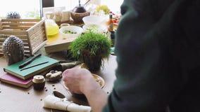 Ειδικός ύφους τροφίμων που εργάζεται στο ασιατικό πιάτο ύφους φιλμ μικρού μήκους