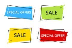 Ειδικό έμβλημα πώλησης προσφοράς για το σχέδιό σας, εκκαθάριση ε έκπτωσης Στοκ φωτογραφίες με δικαίωμα ελεύθερης χρήσης