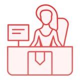 Ειδικό επίπεδο εικονίδιο παράδοσης Εικονίδια χρώματος υπηρεσιών παράδοσης στο καθιερώνον τη μόδα επίπεδο ύφος Βοηθητικό κόκκινο σ ελεύθερη απεικόνιση δικαιώματος
