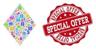 Ειδικό κολάζ προσφοράς του μωσαϊκού και της γρατσουνισμένης σφραγίδας για τις πωλήσεις ελεύθερη απεικόνιση δικαιώματος