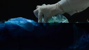 Ειδικό παίρνοντας δείγμα στο νερό με το πλαστικό, κίνδυνος για την οικολογία, μακρο πυροβολισμός φιλμ μικρού μήκους