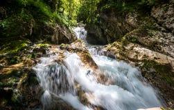 Ειδυλλιακός ποταμός βουνών στην κοιλάδα Lepena, Soca - Bovec Σλοβενία Στοκ Εικόνες