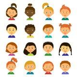 ειδώλων ζωηρόχρωμη γραφική απεικόνιση παιδιών χαρακτηρών κινουμένων σχεδίων Ύφος επίπεδο Στοκ Εικόνες