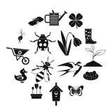Εικονίδια άνοιξη καθορισμένα, απλό ύφος Στοκ φωτογραφία με δικαίωμα ελεύθερης χρήσης