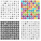 100 εικονίδια άνοιξη καθορισμένα τη διανυσματική παραλλαγή Στοκ εικόνες με δικαίωμα ελεύθερης χρήσης