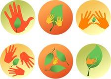 εικονίδια έξι eco Στοκ εικόνες με δικαίωμα ελεύθερης χρήσης