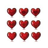 Εικονίδια αγάπης καρδιών γυαλιού καθορισμένα απεικόνιση αποθεμάτων