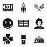 Εικονίδια αγοραστικής δύναμης καθορισμένα, απλό ύφος Στοκ Εικόνες