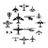 Εικονίδια αεροπορίας καθορισμένα, απλό ύφος Στοκ Εικόνα