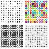 100 εικονίδια αθλητικού εξοπλισμού καθορισμένα τη διανυσματική παραλλαγή Στοκ Εικόνες