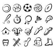 Εικονίδια αθλητικού εξοπλισμού που τίθενται ελεύθερη απεικόνιση δικαιώματος