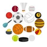 Εικονίδια αθλητικών σφαιρών που τίθενται στο επίπεδο ύφος Στοκ εικόνα με δικαίωμα ελεύθερης χρήσης