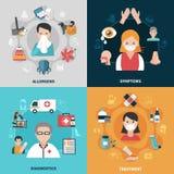 Εικονίδια αλλεργίας 2x2 καθορισμένα απεικόνιση αποθεμάτων