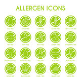 Εικονίδια αλλεργιογόνου καθορισμένα Στοκ εικόνα με δικαίωμα ελεύθερης χρήσης
