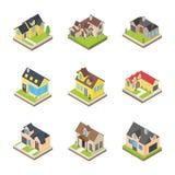 Εικονίδια αρχιτεκτονικών σπιτιών διανυσματική απεικόνιση