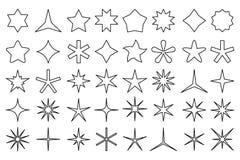 Εικονίδια αστεριών γραμμών Οι μορφές αστεριών περιλήψεων, οι συμπάθειες εκτίμησης και το εικονίδιο ασφαλίστρου απομόνωσαν το διαν ελεύθερη απεικόνιση δικαιώματος