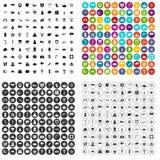 100 εικονίδια αστεριών καθορισμένα τη διανυσματική παραλλαγή Στοκ Εικόνες