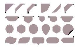 Εικονίδια αυτοκόλλητων ετικεττών για τις ετικέττες καταστημάτων, τις αφίσες ετικετών και πώλησης ή τις διανυσματικές αυτοκόλλητες διανυσματική απεικόνιση
