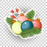 Εικονίδια αυτοκόλλητων ετικεττών Χριστουγέννων διάνυσμα Στοκ Εικόνα