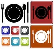 εικονίδια γευμάτων που &ta Στοκ Εικόνα