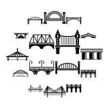 Εικονίδια γεφυρών καθορισμένα, απλό ύφος Στοκ Εικόνα