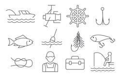 Εικονίδια γραμμών αλιείας διανυσματική απεικόνιση