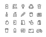 Εικονίδια γραμμών ανακύκλωσης Πλαστικά αποβλήτων οργανικά σκουπίδια τσαντών εγγράφου δοχείων εγγράφου εμπορευματοκιβωτίων απορριμ διανυσματική απεικόνιση