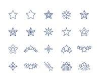 Εικονίδια γραμμών αστεριών Σύμβολα σπινθηρίσματος ασφαλίστρου καθορισμένα, μειωμένη συμπάθεια αστεριών πυροβολισμού ή όπως το εικ διανυσματική απεικόνιση