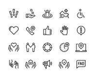 Εικονίδια γραμμών βοήθειας Η υγειονομική περίθαλψη υποστήριξης, χειρωνακτικός οδηγός faq, κοινοτική φιλανθρωπία προσοχής οικογενε απεικόνιση αποθεμάτων