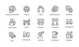 Εικονίδια γραμμών δικτύων και επικοινωνίας Στοκ Φωτογραφίες
