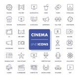 Εικονίδια γραμμών καθορισμένα κινηματογράφος Στοκ Εικόνες