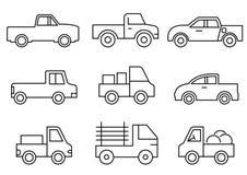 Εικονίδια γραμμών καθορισμένα, μεταφορά, ανοιχτό φορτηγό, διανυσματικ ελεύθερη απεικόνιση δικαιώματος