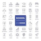 Εικονίδια γραμμών καθορισμένα Σχολικό πακέτο Στοκ φωτογραφία με δικαίωμα ελεύθερης χρήσης