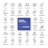 Εικονίδια γραμμών καθορισμένα Φεστιβάλ μουσικής Στοκ Εικόνες