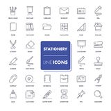 Εικονίδια γραμμών καθορισμένα χαρτικά Στοκ Εικόνες
