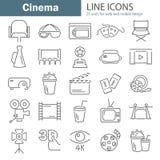 Εικονίδια γραμμών κινηματογράφων που τίθενται για τον Ιστό και το κινητό σχέδιο Στοκ φωτογραφία με δικαίωμα ελεύθερης χρήσης