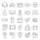 Εικονίδια γραμμών κινηματογράφων που τίθενται για τον Ιστό και το κινητό σχέδιο Στοκ φωτογραφίες με δικαίωμα ελεύθερης χρήσης