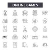 Εικονίδια γραμμών παιχνίδι online, σημάδια, διανυσματικό σύνολο, γραμμική έννοια, απεικόνιση περιλήψεων απεικόνιση αποθεμάτων