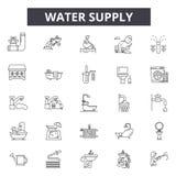 Εικονίδια γραμμών προμήθειας νερού για τον Ιστό και το κινητό σχέδιο Σημάδια κτυπήματος Editable Απεικονίσεις έννοιας περιλήψεων  ελεύθερη απεικόνιση δικαιώματος