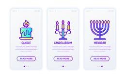 Εικονίδια γραμμών φωτισμού: κερί, κηροπήγιο, menorah διανυσματική απεικόνιση