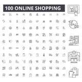 Εικονίδια γραμμών on-line αγορών editable, 100 διανυσματικό σύνολο, συλλογή Απεικονίσεις περιλήψεων on-line αγορών μαύρες, σημάδι ελεύθερη απεικόνιση δικαιώματος