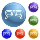 Εικονίδια γυαλιών ματιών καθορισμένα διανυσματικά απεικόνιση αποθεμάτων