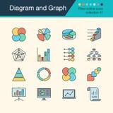 Εικονίδια διαγραμμάτων και γραφικών παραστάσεων Γεμισμένη συλλογή 57 σχεδίου περιλήψεων FO απεικόνιση αποθεμάτων