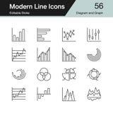 Εικονίδια διαγραμμάτων και γραφικών παραστάσεων Σύγχρονο σύνολο 56 σχεδίου γραμμών Για το presenta Απεικόνιση αποθεμάτων