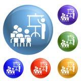 Εικονίδια διασκέψεων εργασίας ομάδας καθορισμένα διανυσματικά διανυσματική απεικόνιση