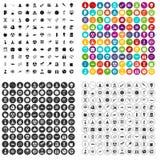 100 εικονίδια διαστημικής τεχνολογίας καθορισμένα τη διανυσματική παραλλαγή Στοκ Εικόνα