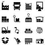 Εικονίδια διοικητικών μεριμνών, διανομής και αποθηκών εμπορευμάτων Στοκ Εικόνα